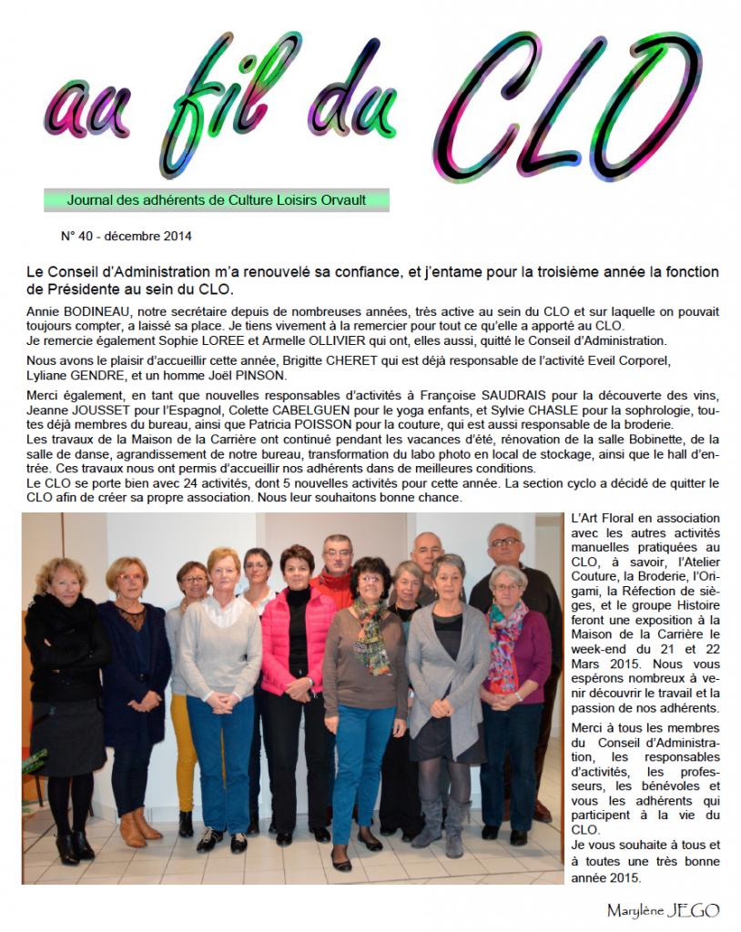 Fil du CLO n°40 — Décembre 2014