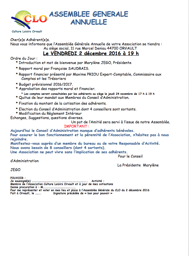 Assemblée Générale — Culture Loisirs Orvault — 2 décembre 2016