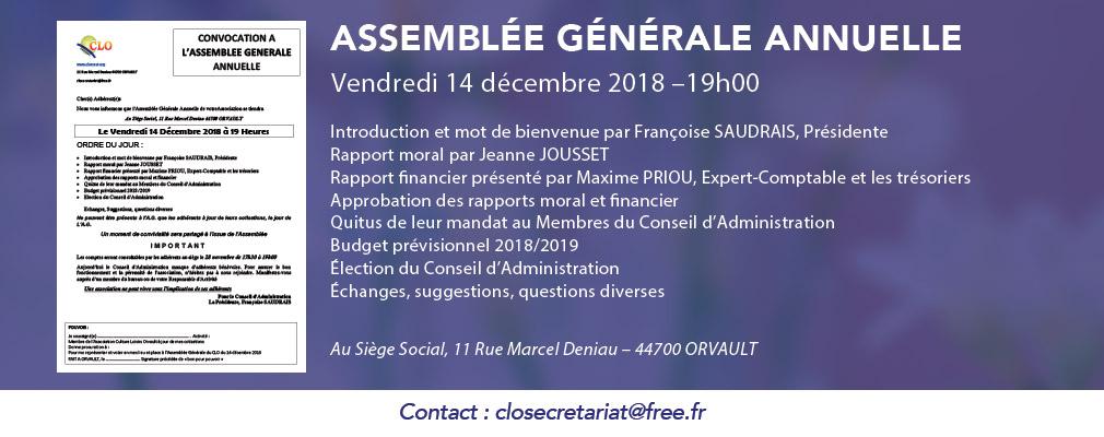 Convocation à l'Assemblée Générale annuelle du CLO (Culture Loisirs Orvault), 14 décembre 2018